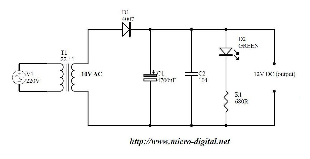 Half Wave Rectifier Supply Micro Digital