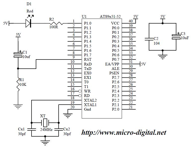 8051 basic led flasher micro digital rh micro digital net 8051 reset circuit diagram 8051 microcontroller circuit diagram