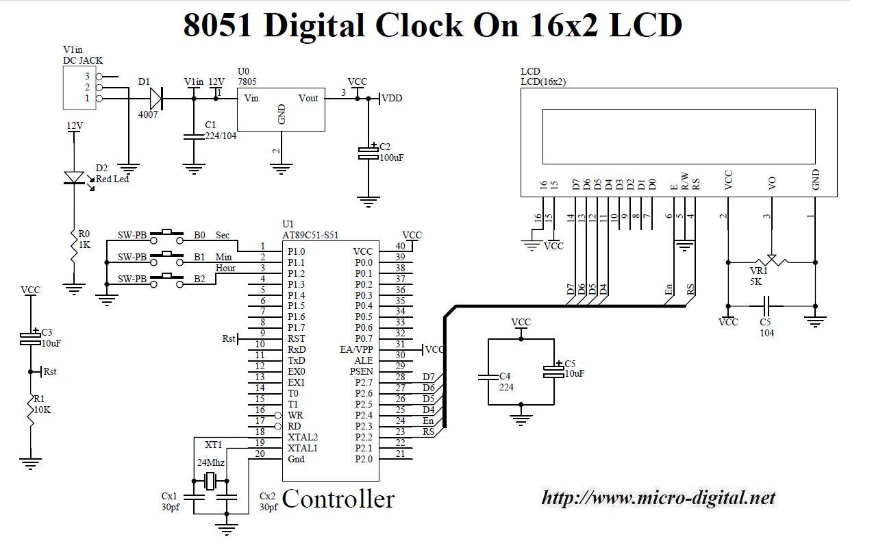 8051 Digital Clock On 16x2 LCD Micro Digital
