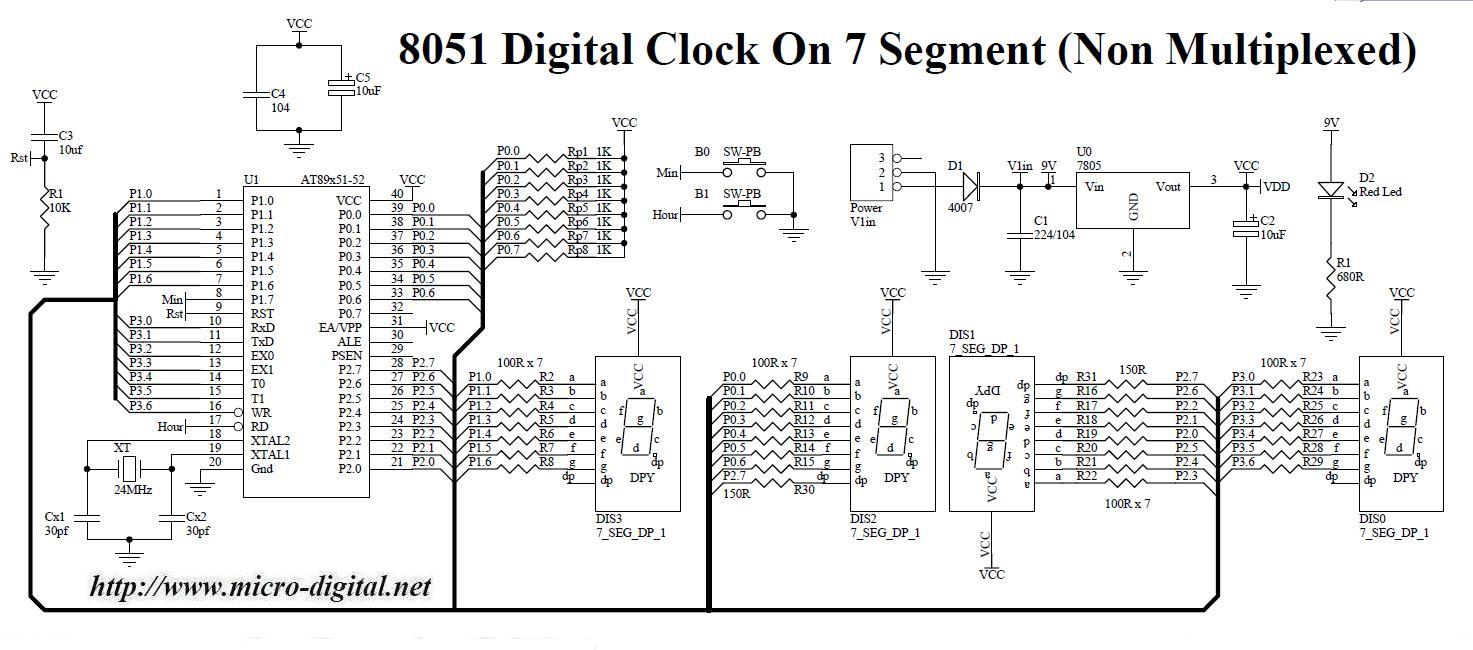 8051 digital clock on 7 segment non multiplexed micro digital rh micro digital net 7 segment display clock circuit diagram 7 segment display clock circuit diagram