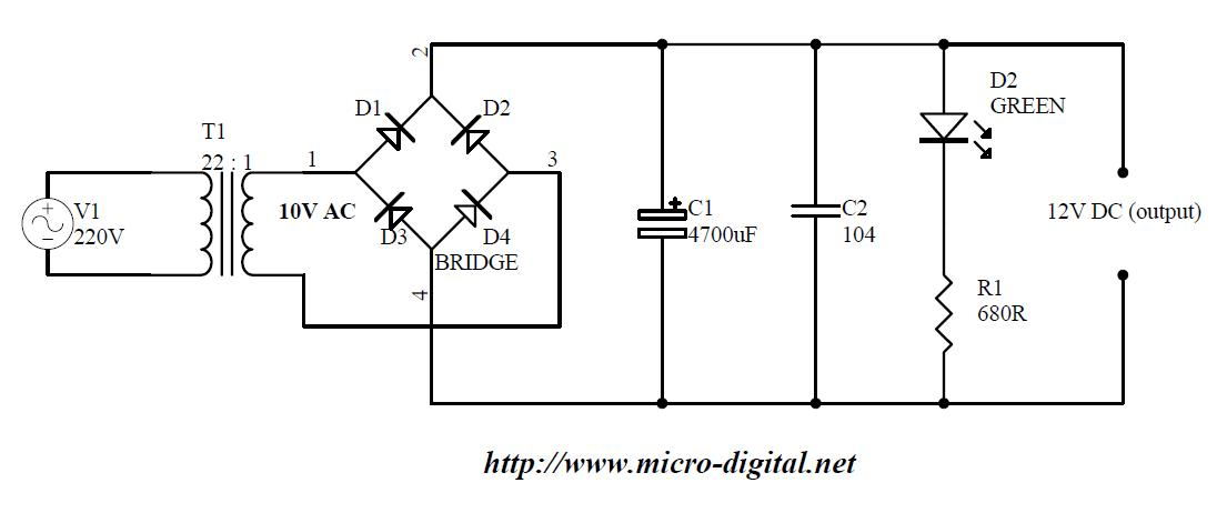 Wiring Diagram Bridge Rectifier : Full wave bridge rectifier supply micro digital