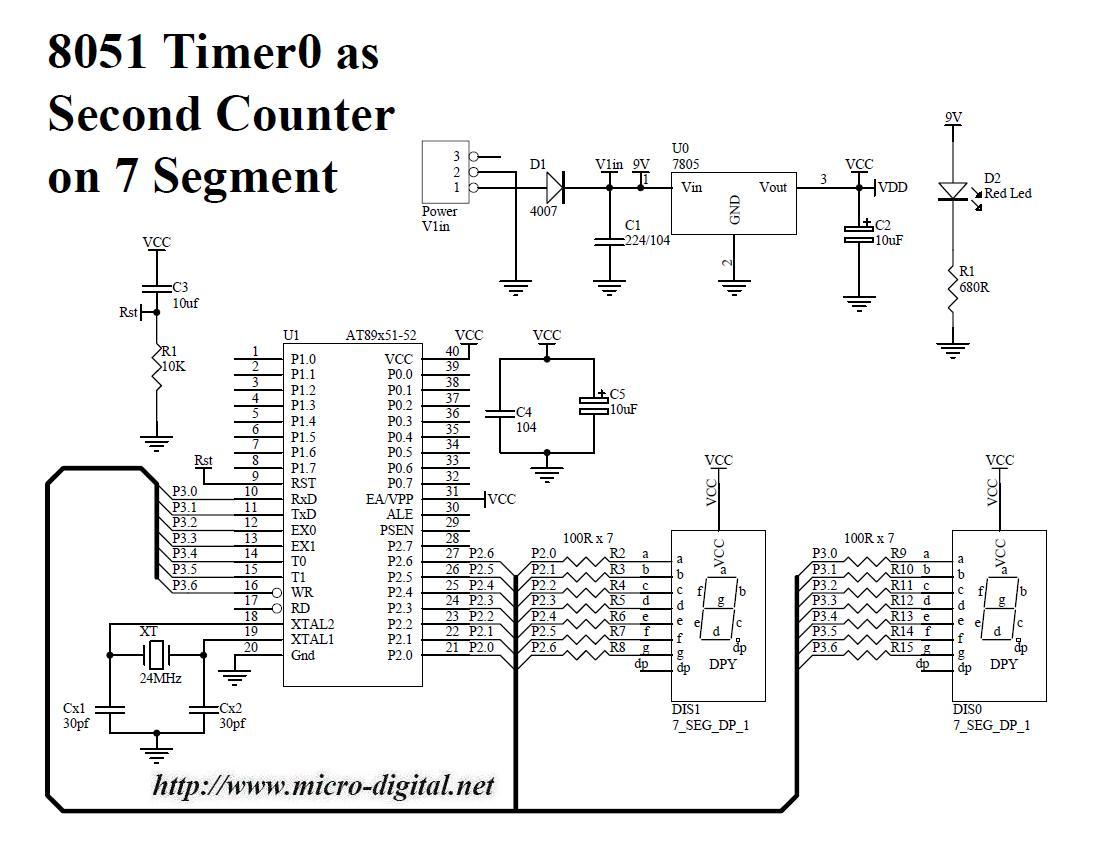 7 segment circuit diagram 8051 timer0 as second counter on 7 segment | micro digital 7 segment clock circuit diagram #15